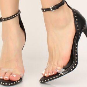 Black studded high heel sandal